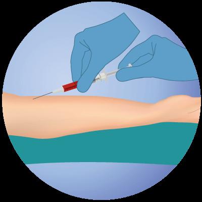 Extracción de sangre paciente
